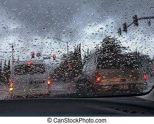 Ich fahre in starkem Regen.