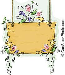 Ich hänge leere Holztafel mit Blumenstöcken auf