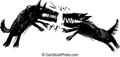 Ich kämpfe gegen die Illustration der Wölfe.