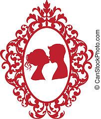 Ich küsse Paar im Bild
