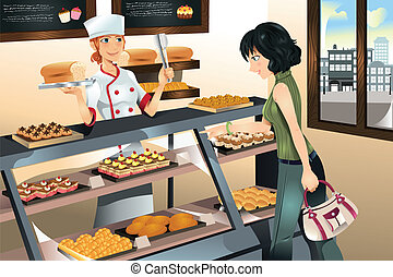 Ich kaufe Kuchen im Bäckerladen