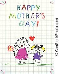 Ich liebe dich, Mutter Kinder, bunte Bleistiftzeichnungen