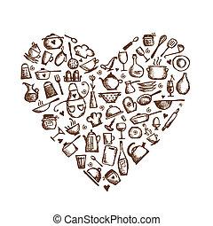 Ich liebe es zu kochen! Küchenutensilien, Herzform für Ihr Design