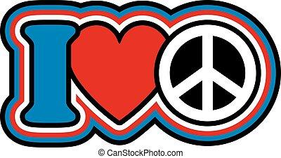 Ich liebe Frieden in Rot, Weiß, Blau.