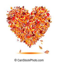 Ich liebe Herbst! Herzform von fallenden Blättern