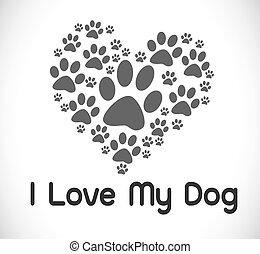 Ich liebe Hundesymbol und süßen Hund.