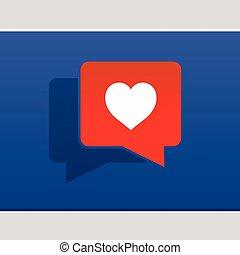 Ich liebe soziale Medienblasen mit Herz.
