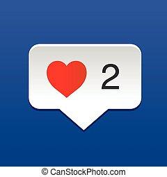 Ich liebe soziale Medienblasen mit Herz, Konzept für den Valentinstag.