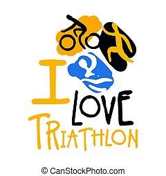 Ich liebe Triathlon-Logo. Farbige hand gezeichnete Illustration