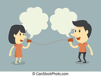 Ich rede mit einem Bechertelefon