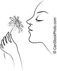 Ich rieche Blumen