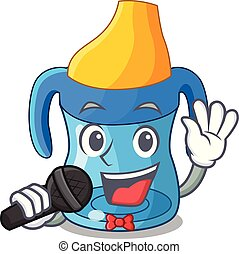 Ich singe Cartoon-Baby, das von der Trainingstasse trinkt.