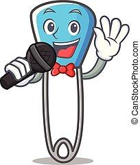 """Ich singe """"Sicherheitspin Maskottchen-Cartoon""""."""