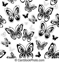 Ich wiederhole, weißes Muster mit Schmetterlingen