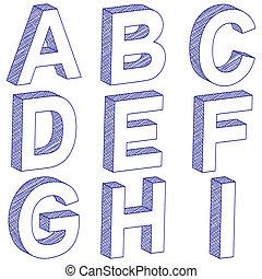 Ich zeichne 3D-Brief A-I