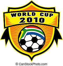 Icon für 2010 Fußball Weltcup mit Fußballball mit Flagge der Republik Südafrika in einem Schild.
