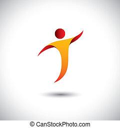 Icon für Aktivitäten wie Tanz, Drehen, Fliegen - Konzept Vektorgrafik. Diese Abbildung repräsentiert auch Personentänze, Yoga, Aerobic, Akrobatik, Gymnastik, Sport usw