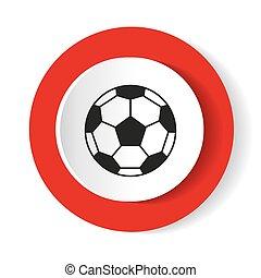 Icon Fußball auf einem roten Hintergrund. Vector Illustration.