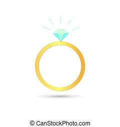 Icon mit Diamantenring auf weißem Hintergrund.