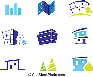 Icon-Sammlung für moderne Häuser, inspiriert von Natur und Einfachheit. Vektor Illustration.