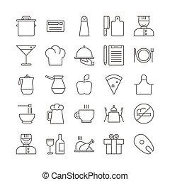 Icon Set for restaurant in Thin Line Stil