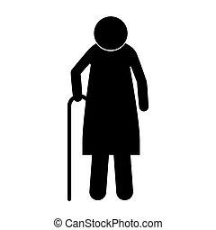 Icon silhouette ältere Frau mit Gehstock.