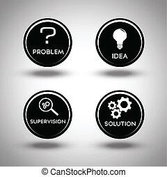 Icons des Problemlösungsprozesses.