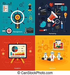Icons für Marketing, Management, Analytik.