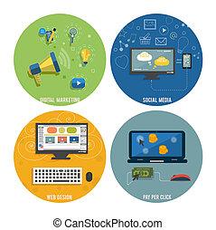 Icons for web design, seo, social media.