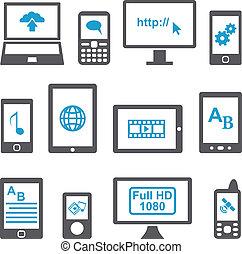 Icons setzen Computer und mobile Geräte