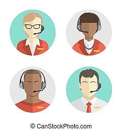 Icons setzen Männliche und weibliche Call Center Avatare in einem flachen Stil mit einem Headset, Konzept der Kommunikation.