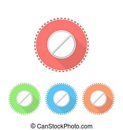 Icons von Medizintabletten.