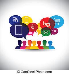 Icons von Verbrauchern oder Nutzern online in sozialen Medien, Shopping - Vektorgrafik. Diese Grafik repräsentiert auch soziale Medienkommunikation, Internet-Shopping, Web-Chat, soziale Vernetzung & Interaktion