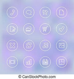 Iconset für mobile app UI, transparent.