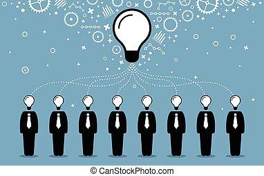 idea., geschäftsmenschen, schaffen, gemüter, besser, ihr, ideen, gedanken, kombinieren, größer
