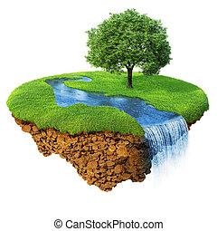 Idyllische Naturlandschaft. Rasen mit Fluss, Wasserfall und einem Baum. Schicke Insel in der Luft isoliert. Einsatzgebiet in der Basis. Vorstellung von Erfolg und Glück, idyllischer ökologischer Lebensweise. Serie