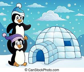 Iglu mit Pinguine Theme 3.