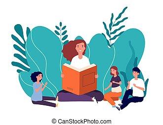 ihr, frau, kinder, mutter, sitzen, vektor, lesende , abbildung, children., reizend, märchen, buecher, lächeln, book., m�dchen, erzählt