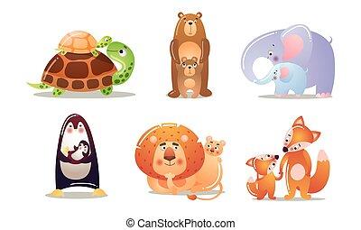 ihr, tiere, wohnung, vektor, kids., satz, abbildung, karikatur, reizend, style.