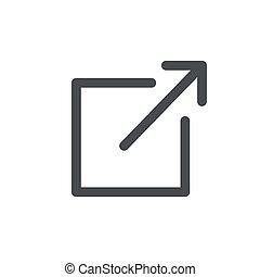 ikone, abgang, kasten, pfeil, ausstellung, verbindung, website