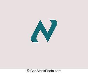 ikone, abstrakt, dein, n, logo, einfache , firma, typographie, brief, grün