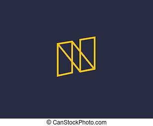 ikone, abstrakt, gelber , dein, n, logo, firma, geometrisch, kreativ, linear, brief