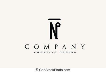 ikone, alphabet, logo., brief, identity., korporativ, beschriftung, professionell, elegant, schablone, abstraktes design, weinlese, n