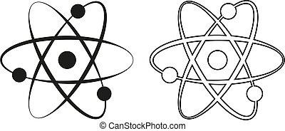 ikone, atom, vektor, -, grün