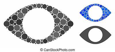 ikone, auge, kreise, blenden, zusammensetzung