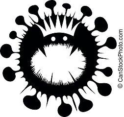ikone, bakterien, freigestellt, zelle, vektor, coronavirus, icon.