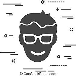ikone, brille, kopf, glücklich, wohnung, w, weißer hintergrund, mann