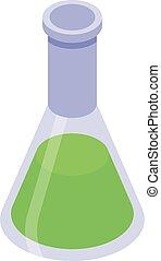 ikone, chemische , stil, flasche, isometrisch, molekular, küche