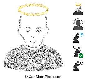 ikone, collage, schwung, heiliger mann
