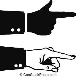 ikone, finger, hand, zeigt, vektor